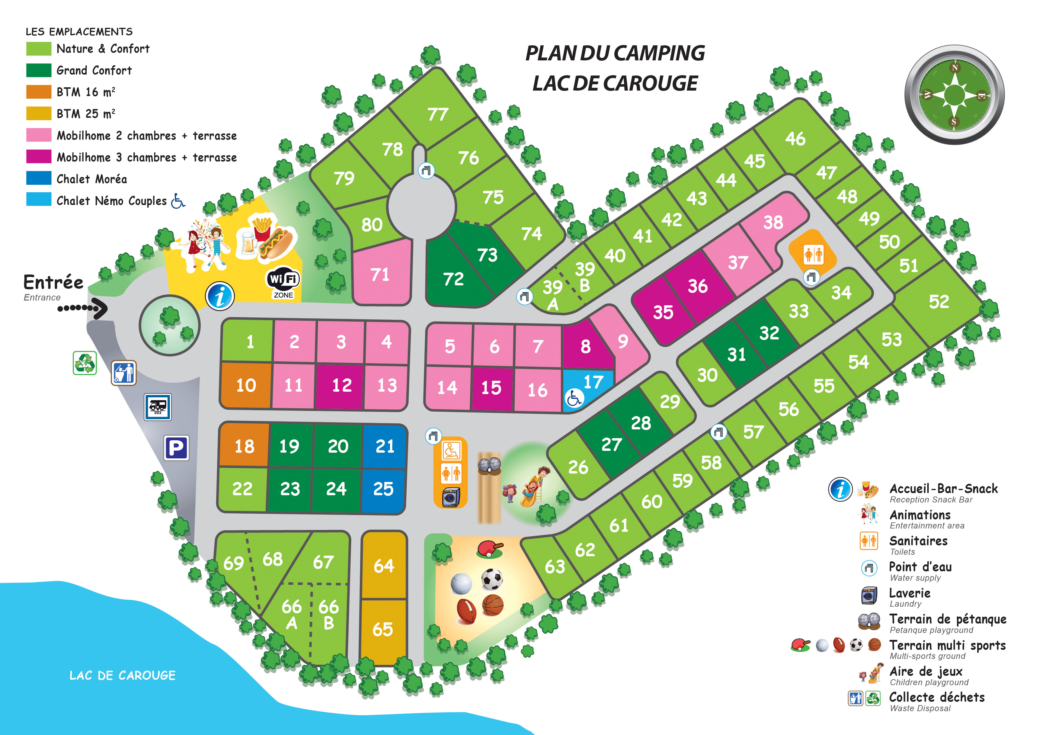 Map of the camping Savoie Lac de Carouge Camping Map on