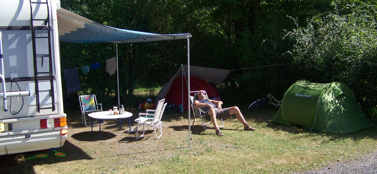 Tent on a large camping site at Lac de Carouge